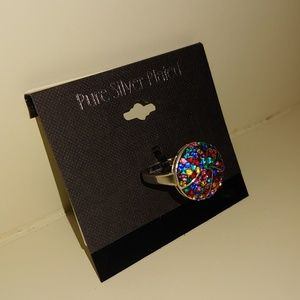 Jewelry - NWT Rainbow Stone Pure Silver Plated Ring, Size 7